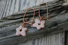 pink porcelain flower earrings by earthformsbymarie on Etsy