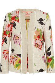 Veste en coton mélangé à imprimé fleuri