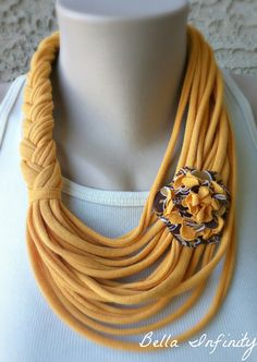 Bella Infinity Floral Scarf Mustard Brown Up-Cycled Jersey Fabric Boho Chic Child Kid Small. $15.00, via Etsy.