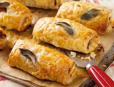 Jumbo herby sausage rolls Crunch into this puffy sage embedded pastry with delicious sausage. It is great for parties, picnics, afternoon tea and any-time snack. Lunch Recipes, Gourmet Recipes, Baking Recipes, Bacon Muffins, British Dishes, Sage Sausage, Hot Appetizers, Picnic Lunches, Puff Pastry Recipes