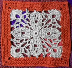 "Royal Romance - 12"" square...pattern available to buy."