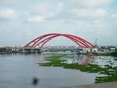 Binh Loi Bridge crossing the Saigon River is a part of  highway project from Tan Son Nhat - Binh Loi;  in the Binh Thanh District, Vietnam