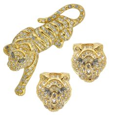 Vintage Trifari Tiger Brooch and Earrings Set   SOPHIESCLOSET.COM   Designer Jewelry & Accessories