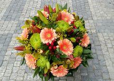 A big bouquet of gerberas, lilly, shamrock, cymbidium, solidago, alstroemeria, hypericum