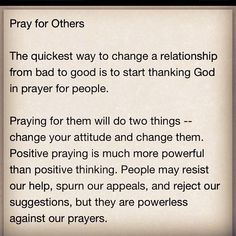 Pray for others.