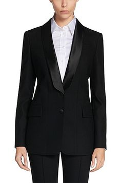 Stretch Virgin Wool Tuxedo Jacket   by Hugo Boss