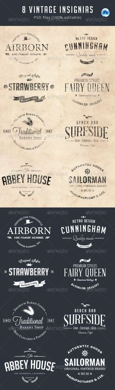 8 Vintage Insignias Template | Buy and Download: http://graphicriver.net/item/8-vintage-insignias/8076087?WT.ac=category_thumb&WT.z_author=corrella2&ref=ksioks