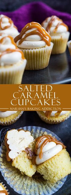 Salted Caramel Cupcakes | http://marshasbakingaddiction.com /marshasbakeblog/. Moist yellow cupcakes with a yummy salted carmel swiss meringue buttercream frosting and salted Carmel in the middle of the cupcake.