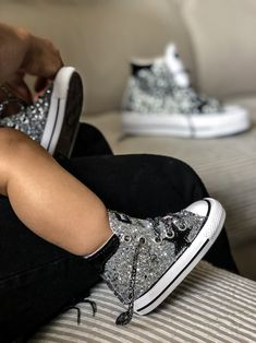 Muffin Custom Collection Vans Authentic, Mom And Baby, Silver Glitter, Muffin, Converse, Platform, Sneakers, Leather, Collection