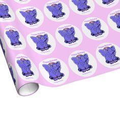 Customizable purple elephant gift wrap