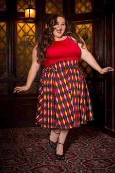Laura Byrnes California Little Jun Skirt in Red House Harlequin   Pinup Girl Clothing