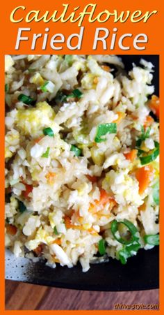 Cauliflower Fried Rice... this is an awesome twist on very popular dish! It's grain free, but tastes so amazing you won't even miss the rice! Easy to make, and great reheated too!