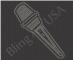 Microphone Rhinestone Design Pattern File Download Stencil Template Bling Art