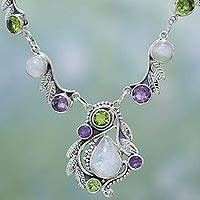 Multi-gemstone pendant necklace, 'Luminous Beauty' - Sterling Silver and Multigem Pendant Necklace from India Diy Necklace Patterns, Wire Jewelry Patterns, Pendant Jewelry, Pendant Necklace, Necklace Set, Jewelry Necklaces, Peridot And Amethyst, Bridal Gifts, Sterling Silver Necklaces
