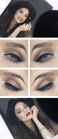 """Today's Look : """"Elegant"""" -Linda Hallberg (Nothing says glamour like a simple but sophisticated makeup look. Linda nails this by pairing nude eyeshadows with a perfect winged liner and a va va voom red lip.) 02/20/14"""