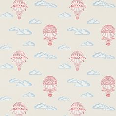 Balloons Wallpaper from Sanderson Abracazoo Collection. A children's wallpaper featuring hot air balloons gracefully drifting in a cloud filled sky, printed in red and white on a vanilla background. Seaside Wallpaper, Cool Wallpaper, Beautiful Wallpaper, John Lewis Wallpaper, Balloon Illustration, Shell Frame, Cute Dinosaur, Wallpaper Online, Old English