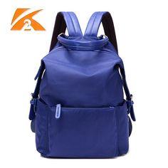 Women Nylon Backpack Multizipper Students Schoolbag