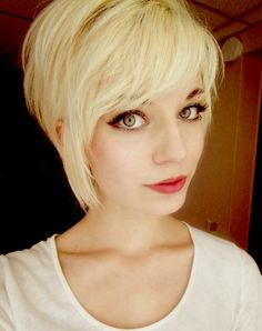Cute light blonde asymmetrical pixie cut. Prob never ever go.this short but I love this