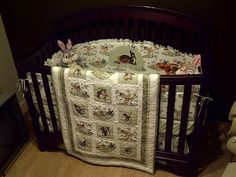 Hand made crib ensemble in Bambi theme.