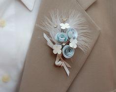 Paper Flower Boutonniere Baby blue with by FlowersFromTheGarden. $10.00 USD, via Etsy.