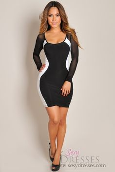Sexy White and Black Long Sleeve Mesh Silhouette Dress