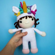 If you love unicorns, you will love this crochet unicorn doll! This free crochet pattern is a perfect amigurumi for everyone that wants to be a unicorn. It is an easy pattern that would be the perfect gift for a little girl's toy! Amigurumi Doll, Amigurumi Patterns, Doll Patterns, Crochet Patterns, Unicorn Doll, Unicorn Costume, Crochet Unicorn Pattern, Little Doll, Crochet Animals