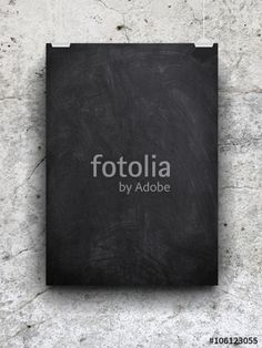 #Blank #blackboard #frame with #clips against #cracked #wall #background