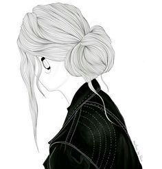 Chica en blanco y desfavorable con moño chaqueta en jeans Imagen y pósters Hipster Girl Drawing, Tumblr Girl Drawing, Girl Drawing Sketches, Cute Girl Drawing, Girly Drawings, Girl Sketch, Tumblr Outline Drawings, Tumbler Drawings, Girl Outlines