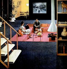 """Mid-century modern carpet ad, """"Hey baby, step into the conversation pit in my sunken living room. Check out my floating fireplace and my pink and yellow color-blocking."""" (""""It sure is swell,"""" the hapless, innocent man replied. Retro Interior Design, Mid-century Interior, Mid Century Decor, Mid Century House, Conversation Pit, Casa Retro, Architecture Restaurant, Sunken Living Room, Living Rooms"""