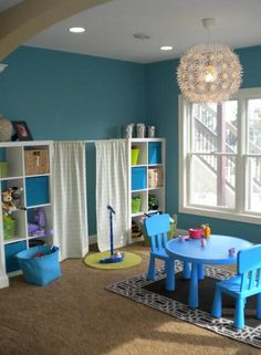 Sunshine on the Inside: Dear Young House Love, Stop Copying Me awesome kids playroom! Casa Kids, Playroom Organization, Playroom Ideas, Playroom Stage, Playroom Decor, Kids Stage, Playroom Design, Playroom Paint, Organized Playroom
