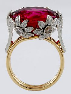 Diamond & Rubellite Tourmaline Ring set in platinum & gold