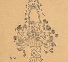 Silk Ribbon Embroidery Flowers Vintage Embroidery Transfer repo 95 Basket of Flowers for Bedspread or Quilt top - Embroidery Designs, Iron On Embroidery, Embroidery Flowers Pattern, Embroidery Transfers, Learn Embroidery, Machine Embroidery Patterns, Crewel Embroidery, Vintage Embroidery, Ribbon Embroidery