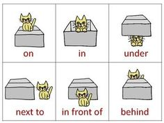 Teach prepositions with this adorable color worksheet featuring a kitty who loves to play ON IN UNDER NEXT TO IN FRONT OF AND BEHIND a cardboard box. Anyone with a cat will know how true this is. Please rate our store right MEOW! English Grammar For Kids, Teaching English Grammar, English Lessons For Kids, English Worksheets For Kids, Learn English Words, English Activities, Kids English, Preposition Activities, Preschool Learning Activities