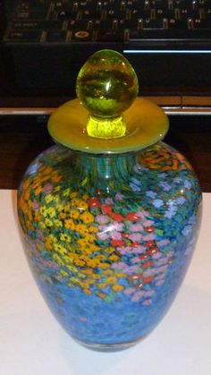 Peter Raos New Zealand Vincent Van Gogh Perfume Bottle Millefiori Flower 2003