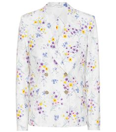 Max Mara - Libia linen double-breasted blazer - Max Mara takes a feminine approach to smart tailoring with this impeccably cut double-breasted blazer, done in lightweight yet structured linen with the prettiest floral print. Punctuated by high-shine buttons, this lean layer is a dreamy way to suit up. Wear yours over a crisp blouse on office days, or open with an eyelet dress on weekends. seen @ www.mytheresa.com