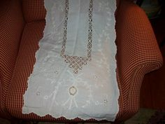 Lace Cotton Inserts runner Vintage scalloped cottage by raggedy10, $12.50