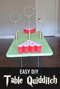 Create this easy table-top DIY quidditch game for your Harry Potter birthday party.