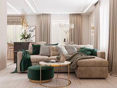 Living Room Sofa Design, Home Room Design, Living Room Interior, Home Living Room, Living Room Designs, Living Room Decor, Classy Living Room, Living Room Green, Appartement Design