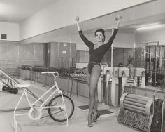 Dunes showgirl Marya Linero works out with the latest equipment and the highest of heels at Mr. Universe George Eiferman's gym on August 21, 1968.