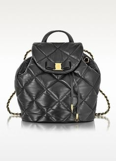 New Arrivals: Salvatore Ferragamo - Large Black Quilted Leather Vara Backpack