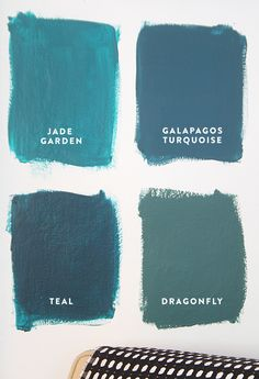 Four Shades of Blue from Benjamin Moore: jade garden. Galapagos turquoise. teal. dragonfly.