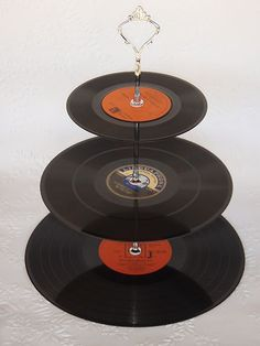 Record Cup Cake Stand 3 Tier Vinyl 60s Retro Rockabilly Wedding Rock n Roll | eBay