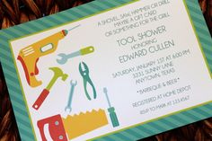 tool shower invitationS   Man Tool Shower Invitations by PaperMonkeyCompany on Etsy