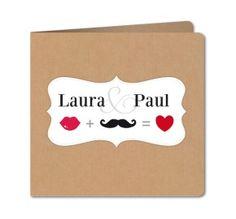 faire part mariage moustache kraft