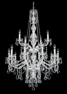"""Schonbek 1308 32"""" Wide 15 Light Candle Style Chandelier from the Arlington Colle Polished Silver Indoor Lighting Chandeliers"""