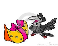 Crow and cheese fable cartoon illustration    image animal character