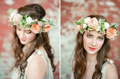 DIY Spring Flower Crown with peach garden roses and white ranunculus