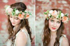 Flower Crown. Wonder how it'll look like as crochet headband.
