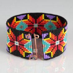 Native American Style Boho Bead Loom Bracelet by PuebloAndCo