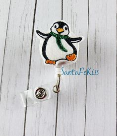 Penguin Badge Holder with Retractable Badge Reel.  by SantaFeKiss
